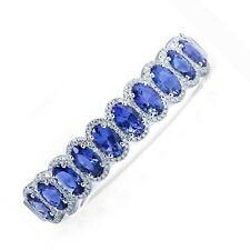 TANZANITE AAA+++ Cuff Bangle Bracelet OVAL CUT Sterling Silver white Gold over
