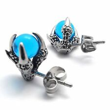 MENDINO Men's Women's Stainless Steel Stud Earrings Dragon Claw Blue Ball Silver