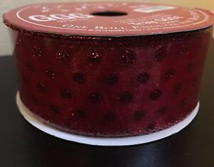 Christmas Ribbon Red Glitter Dots Red Wired Edge 30 Feet Long 1.5 In 5156252