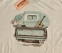 Margaritaville Mens T-Shirt Large Green Truck Guitar Graphic Spell Out Logo NWT