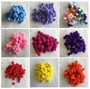 100 Small Tiny 1.5 cm 15 mm Pom Poms DIY Craft Pompom Assorted Nose Snowballs