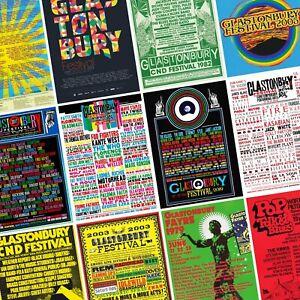 GLASTONBURY Festival Line Up Posters PHOTO Print POSTER Prints 1970-Present
