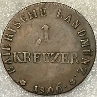 1806 GERMANY BAVARIA OCCUPATION OF TYROL ONE 1 KREUZER COPPER COIN, VERY RARE