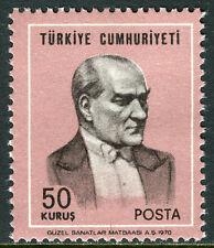 Turkey 1836 Variety Perf.13 3/4:13 1/4, MI 2170B €30, MNH. Kemal Ataturk, 1970