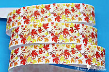 "5 yards 7/8"" Thanksgiving Tree Harvest Fall Halloween Printed Grosgrain Ribbon"