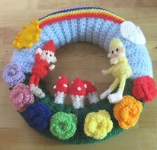 LARGE HAND KNITTED RAINBOW AND ELVES WALL WREATH. NURSERY ROOM DISPLAY. FUN.