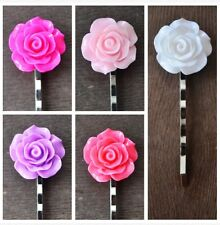 5 Wedding Hair Accessory Bridesmaids Cute Rose Silver Bobby Pin Hair Grip Clip