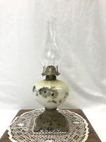 Antique Vtg Hand Painted Floral Oil Lamp Plume Atwood Hurricane Lantern Kerosene