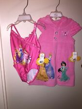 DISNEY PRINCESS One-Piece Swimsuit & Cover-Up PINK MULTI Size 2 NEW Tags Beach