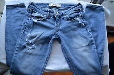 Hollister California Size 1R  Stretch Distressed Light Wash Jeans W 25 L 31 Blue