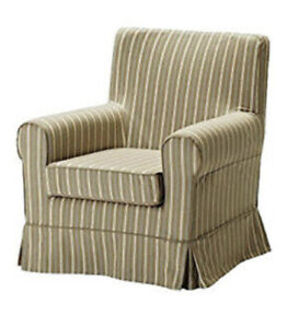Ikea Cover for Ektorp Jennylund Chair in Linghem Brown Stripe 901.842.69