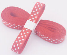 "Red 5yds 3/8"" (10 mm)Printed Party Polka Dot Grosgrain Ribbon#"