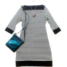 Issac Mizrahi Women's Plus Dress  Black White Boat Neck Striped Casual Sz XXL/2X