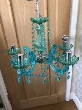 Large green Glass 5 arm beaded chandelier ceiling light Fitting
