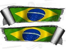 Pair of Rolled Back Ripped torn Metal Effect Brazil Flag  Vinyl Car Stickers