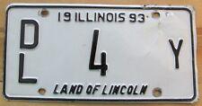 Illinois 1993 LOW NUMBER DEALER License Plate # DL 4 Y
