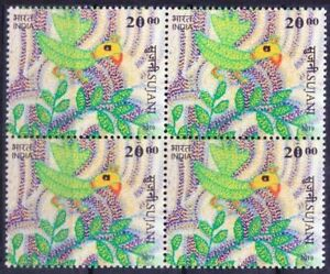 India 2019 MNH Blk, Parrot on Embroidery Craft work, Art, Birds