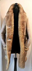 Woolea Sheepskin Coat Ladies Womens Jacket Size 12/14 Beige Brown Winter Warmer!