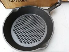 Cast Iron Skillet Grill 26cm Pan Camping Fire Oven Stove BBQ Fry Ribbed REDUCED