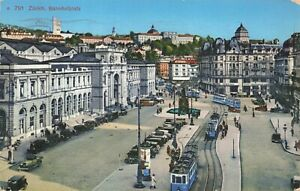 Postcard Ephemera Zürich Bahnhofplatz Switzerland Swiss CHE Trolley Tram Domes