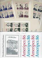 US Scott 2216-19 Ameripex 86. Presidential MNH 4 Sheets 22 Cents. Superb!