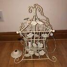 Vintage Bird Cage Pagoda Tole Pendant Chandelier Floral Cream 4 Light Shabby