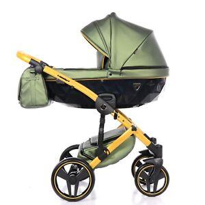 Exclusive Pram Junama Fluo2 green + yellow Baby Stroller Pushchair Travel System