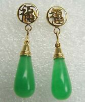 Fashion Natural Women Green/Red Jade Drop Dangle Earrings Beautiful Stud Earring