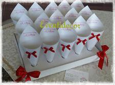 Vassoio+15 coni portariso portaconfetti con fiocchetto e stampa *colori a scelta