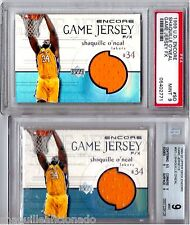 LOT OF (2) GRADED 1999-00 SHAQUILLE UD ENCORE F/X GAME JERSEY LAKERS SHAQ O'NEAL