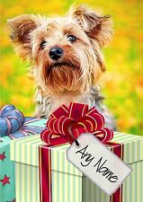 YORKIE YORKSHIRE TERRIER BIRTHDAY or CHRISTMAS CARD  Personalised in & out