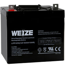 12V 55AH Rechargeable Deep Cycle AGM Battery For Scooter Wheelchair Solar System