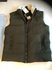 NWT Belstaff Fyfield Quilted Shearling Trim Ripstop Nylon Vest Green Size 56