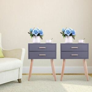 Jaxpety Set of 2 Side End Table Nightstand with 2 Drawers Storage Mid-Century Ac