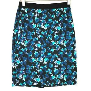 Ann taylor floral watercolor pencil skirt blue size 0p