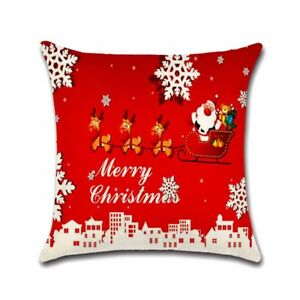 Hot Christmas Decorations For Home 1pcs Jute Pillow Cover Case, Merry Christmas