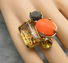 Juicy Couture Statement Ring Coral Lucite Amber Rhinestone Size 5.5 Gold 284f