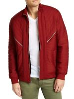 INC Mens Jacket Red Size 2XL Zip Front Quilted Ribbed Trim Bomber $99 003