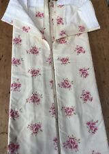 """NWOT CREAM WITH FLORAL SPRAYS CUSTOM MADE DUNELM LINED CURTAINS 74"""" W  X 88"""" L"""