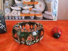 Cendrier en cristal de Val Saint Lambert, signé + boîte, modèle Corona vert