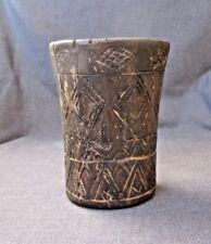 INCA WOODEN INCISED GEOMETRIC PATTERN KERO RITUAL DRINKING VESSEL  C.1400-1500