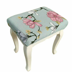 Floral Stool Cover Seat Chair Slipcover Pastoral Style Seat Protector Wrap