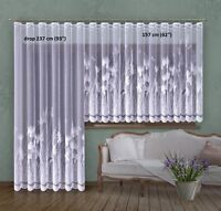 ELEGANT WHITE NET CURTAIN TWO DROPS SOLD BY METERS CORNFLOWERS DESIGN