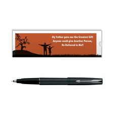 Parker Frontier Matte Black  CT Roller Ball Pen  with Dad Quote-5:9000020192