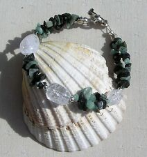 """Natural Emerald & Crackled Clear Quartz Crystal Gemstone Bracelet """"Sage Dew"""""""