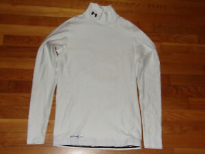 NEW UNDER ARMOUR COLDGEAR LONG SLEEVE WHITE MOCK COMPRESSION JERSEY MENS LARGE