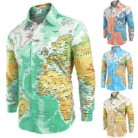 Men Casual Chic World Map Printed With Button Shirt Long Sleeve Top Lapel Blouse