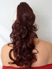 "Clip in Hair Pony Tail Hair Extension Curly Red Brown - 19"" KATE"