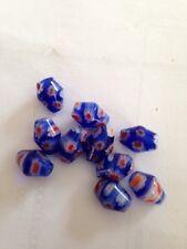 10 7X10mm Cobalt Millefiori Glass Beads L@@K #6