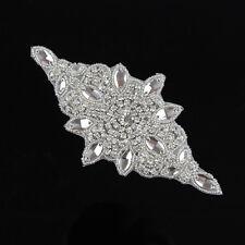 Sew Iron on Crystal Rhinestone Appliques Trims Silver Bridal Dress Sash Decor